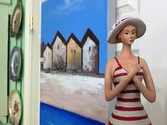 beach girl & boathouses (Mr.  Mark) Tags: house colour classic beach girl painting toy photo store doll pretty antique stock quaint bathingsuit markboucher