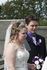 Newlyweds (bryanpage) Tags: flowers wedding tiara groom bride necklace veil teeth pearls suit lancaster bouquet weddingdress bridegroom bryanpage williamsonpark ashtonmemorial michellepage