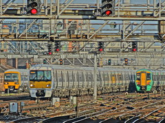 London Bridge HDR 1 (Deepgreen2009) Tags: camera new train londonbridge evening track colours peak railway signals busy approach parallel hdr function