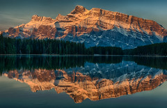 Magical Early Light at Two Jack (Jeff Clow) Tags: morning lake reflection nature mountrundle albertacanada landcape banffnationalpark firstlight canadianrockies twojacklake tpslandscape