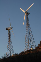 Two Vestas at the Sky River Ranch, PCT, CA (Damon Tighe) Tags: california ranch ca sky mountains windmill america river energy power pacific wind farm north crest trail backpacking electricity pct generation turbine tehachapi alternative windfarm turbines