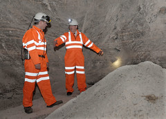 Finance Minister Sammy Wilson pictured with Jason Hopps, Mine Surveyor in the Carrickfergus Salt Mine (Northern Ireland Executive) Tags: saltmine finance financeminister carrickfergus dfp kilroot sammywilson centralprocurementdirectorate