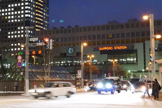 札幌駅前。ホテルはここからすぐでした。|