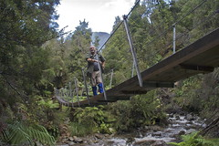 Crossing a swingbridge, Croesus track (Steve Attwood) Tags: bridge newzealand green forest canon stream hiking steve westcoast tramping swingbridge attwood croesustrack paparoaranges southislandhighcountry
