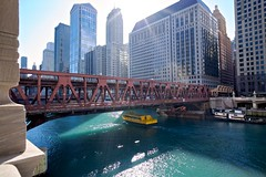 West Wacker Dr. (Roger Wojahn) Tags: chicago fall architecture buildings seasons skyscrapers cityscapes wideangle foliage skyscapes thefountainhead