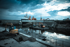 Dunball Wharf (peterchilds93) Tags: dunball bridgwater somerset england wharf lockgates plant equipment digger barge reflection dramatic ship cement works estury hanson concrete sony a6000