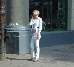 Call of the Blonde (RobertStockdill) Tags: blonde russianwoman moscow whitejeans prettywoman phone