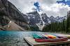 Moraine Lake Canoes 2 (TheReilDeal) Tags: banff banffnationalpark morainelake valleyofthetenpeaks mountains lake glacier alberta
