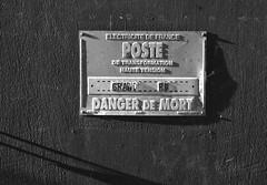 Danger de Mort (robmcrorie) Tags: montreuil sur mer france nord 62170 leica m2 ilford fp4 monchrome black danger de mort white rue grande electricite electricity