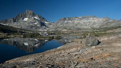 Reflections and Rocks (deanwampler) Tags: sierras bannerpeak mtdavis thousandislandlake anseladamswilderness jmt johnmuirtrail