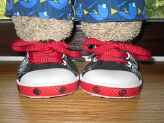 NEW SHOES!!! (pefkosmad) Tags: tedricstudmuffin teddy ted bear holibobs tedsholibobs holiday vacation vacances saundersfoot seaside village town beach pembrokeshire wales uk cute stuffed soft plush toy cuddly travelodge travelodgical windowsill hotel room shoes sneakers footwear