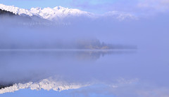 LAKE MAPOURIKA (rina sjardin-thompson photography) Tags: landscape light lake lakemapourika mist minimalism minimalist rinasjardinthompson rural reflection westcoast westland water waterscape weather wilderness southisland southwestland southernalps snow newzealand nz