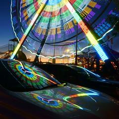 Ferris weel & Nissan (jlp771) Tags: neon weel big blue sony a6000 square ferris