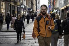 Mr Orange (Markus Jansson) Tags: stockholm street candid drottninggatan orange leadinglines morning walking