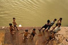 Guys bathing in Yamuna River (PiccolaSayuri) Tags: india agra yamuna bath bathing rajasthan haryana uttarpradesh madhyapradesh delhi mandawa bikaner jaisalmer jodhpur udaipur jaipur fathpursikri gwalior orchha khajuraho varanasi incredibleindia hindu temples forts colours people faces