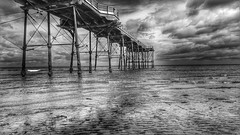 Saltburn Pier (Baz 3112) Tags: foranyonewhosinterested 500px blackandwhite blackwhite hdr hdrcollection hdrgallery hdrphoto hdrphotography pier beach sea seaside seascape cloud clouds perspective monochrome outdoor water serene