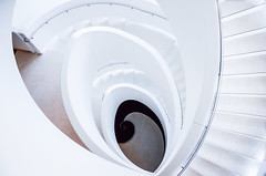 spiraling (almostsummersky) Tags: winter white building wisconsin stairs floors circle campus spiral heaven down staircase verona railing stories epic