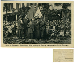 Saluti da Roncegno. Benedizione della bandiera di Genova, regalata agli scolari di Roncegno (Ecomuseo Valsugana | Croxarie) Tags: genova cartolina bandiera roncegno sittoni montibeller roncegnoterme croxarie giuseppesittoni