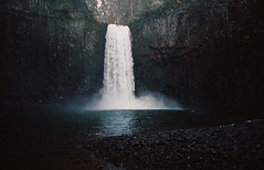 abiqua's cavern: postapalooza #4 (manyfires) Tags: winter film oregon analog 35mm landscape waterfall nikonf100 pacificnorthwest pnw abiquafalls