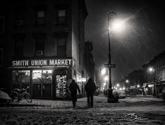 Smith Union Market (BrianEden) Tags: nyc winter snow ny newyork storm cold brooklyn night corner lights frozen store nemo bokeh snowstorm silhouettes freezing bodega cobblehill blizzard convenience