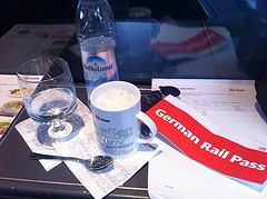 15 days and a German Rail Pass (sfPhotocraft) Tags: ice water coffee train germany db mug traintravel germanrailpass germanrailtravel