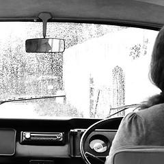 DRIVING MISS VICKY. (STEVE AND ANNETTES WORLD) Tags: travel monochrome vw nikon unitedkingdom transport dorset campervan d300 steveclark saphoto elementsorganizer