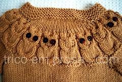 Costas do casaco Owlet (Valeria Ferreira Garcia) Tags: knitting handknit boto coruja beb cardigan owls tric casaco owlet suter katedavies cardig