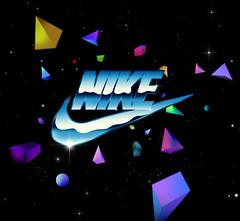 Nike space ( MSSIVE PRJCT ) Tags: logo stars design graphicdesign triangle shine space nike cube futurism illustartion futuristic spacial geometrics metallictext