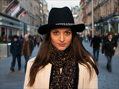 Parisienne Eyes (csh 22) Tags: street portrait people girl face hat 35mm eyes glasgow streetphotography streetportrait style buchananstreet shoppers frenchgirl parisienne nikond90 portraitofgirl glasgowstreetphotography