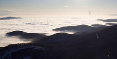 Sea of clouds. (exvivo) Tags: winter sky sunlight mist snow mountains nature beautiful sunshine clouds forest trekking landscape hungary december afternoon hiking naturereserve layers flowing bkk