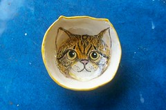 Stripe Cat Face Bowl by Sharon (Chipmunk Hill Arts) Tags: original art ceramics handmade clay handpainted studentwork allages bloomingtonindiana underglazes lofire chipmunkhill earthenwre