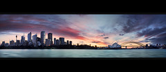 Sydney City || NEW SOUTH WALES || AUSTRALIA (rhyspope) Tags: sunrise sunset australia aussie sydney city yellow pano panorama harbour bridge opera house skyline cityscape afternoon evening silhouette lights color colour water ripple sea ocean coast marine boat wharf rhyspope canon circular quay ferry night blue orange reflection 500d landscape wave harbourbridge
