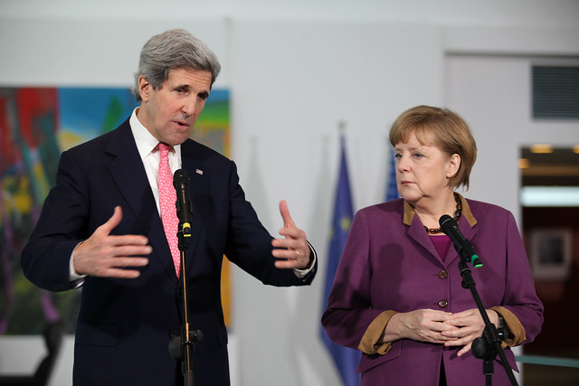 Secretary of State Kerry addresses the media with German Chancellor Merkel