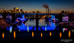 Mississippi River Reflections (Greg Lundgren Photography) Tags: bridge pink blue reflection yellow skyline night river mississippi twilight cityscape minneapolis smokestack twincities 35w universityofminnesota 10thavenue 1585 greglundgren efs1585