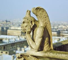 Gargoyle, Notre Dame Cathedral [Gargouille à la Cathédrale de Notre Dame] (philhaber) Tags: paris france cathedral notredame gargoyle