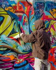 The Artist (roymondus) Tags: street city urban toronto art wall graffiti alley mural artist industrial sony vivid spraypaint multicolor multicolour slta37