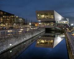 Liverpool Museum (Raven Photography by Jenna Goodwin) Tags: light england reflection water museum architecture night clouds liverpool photography canal clear liver hdr noctography