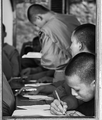 Monks in school (Miha Pavlin) Tags: trip school vacation bw se asia buddhism adventure monks southeast laos lao luang prabang