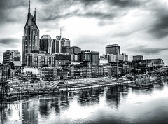Stormy Nashville (Tom Frundle Photography) Tags: city skyline blackwhite cityscape tn nashville tennessee hdr nashvegas downtownnashville nashvilleskyline 2013 photomatrixpro tomfrundle tomfrundlephotography