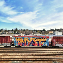 (everkamp) Tags: railroad square trains squareformat boxcar freight myst iphone rollingstock wholecar tiltshift benching allnation iphoneography instagramapp uploaded:by=instagram