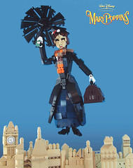 Mary Poppins (Nck V) Tags: umbrella airport team lego mary floating parrot disney jigsaw moc poppins arso mocathalon