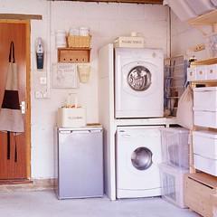 Garage Utility Room (Heath & the B.L.T. boys) Tags: garage laundry organize ikea shelves fridge bucket tin