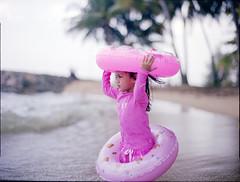 afrina (atfal al-hejara) Tags: pink portrait 120 film beach girl mediumformat coast daylight 645 day open kodak bokeh daughter wide naturallight east contax 400 tropical epson dreamy f2 manual ecp planar v700 portranc vuescan