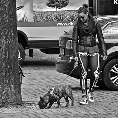 See-through leggings...... (Akbar Simonse) Tags: urban bw dog holland blancoynegro girl sunglasses zwartwit nederland streetphotography hond shades sneakers zonnebril straatfotografie blackmilk leatherjacker akbarsimonse bonelegging doorkijklegging seethroughlegging rntgencamera xrayleggings