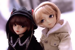 resemblance (___rei) Tags: portrait girl portraits hoodie twins doll dolls lace buttons blueeyes gothic marion pale jacket together blond button shorthair neko bjd resin brunette luts fleece delf lacy abjd pockets catears twogirls msd gothiclolita brownhair blondhair paleskin darae lacecollar dollmeet kiddelf nekoears notboy smayocat april2013meet