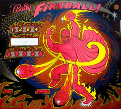 1977 Bally Fireball! Home Version Pinball Machine Backglass (gregg_koenig) Tags: old home vintage version machine pinball 70s devil 1970s 1977 fireball bally backglass