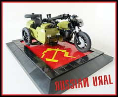 Russian Ural 1 (Lino M) Tags: red two green bike hammer war iron lego russia military curtain wwii olive communist soviet motorcycle behind sickle russian martins lino worl sidecar lugnuts ural