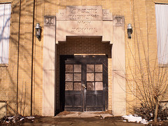 Massie (rushforsutherland) Tags: door old school ohio abandoned high doors entrance abandon oh entry township massie harveysburg