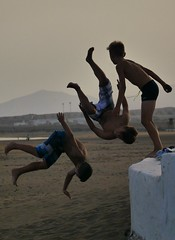 Boys will be boys (evansmark425) Tags: beach children fun playing plya honda lanzerote sunset jumping kids