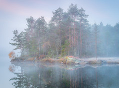The Island (andreassofus) Tags: autumn fall mist fog misty mistymorning foggy water lake reflections trees island october nature landscape morning sunrise canon
